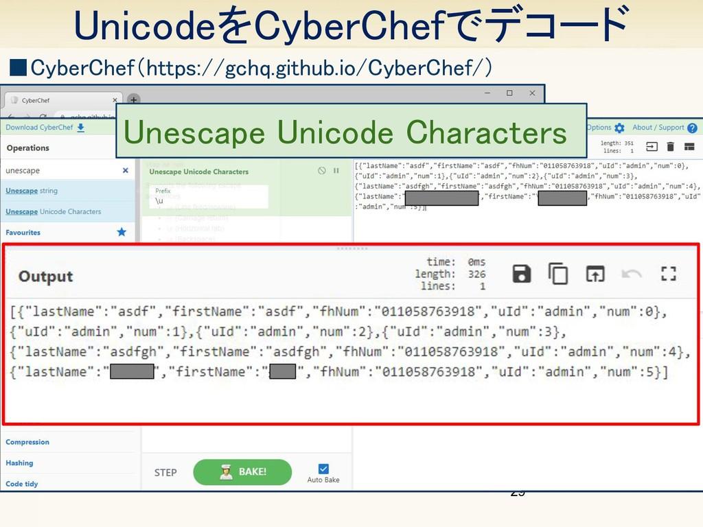 UnicodeをCyberChefでデコード 29 Unescape Unicode Cha...