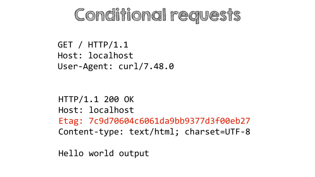 Conditional requests HTTP/1.1 200 OK Host: loca...