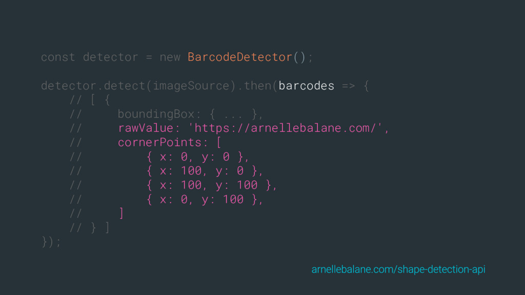 const detector = new BarcodeDetector(); detecto...