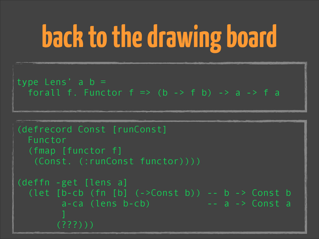 ! type Lens' a b = forall f. Functor f => (b ->...