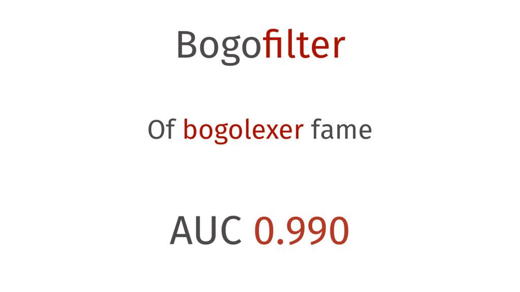 Bogofilter Of bogolexer fame AUC 0.990