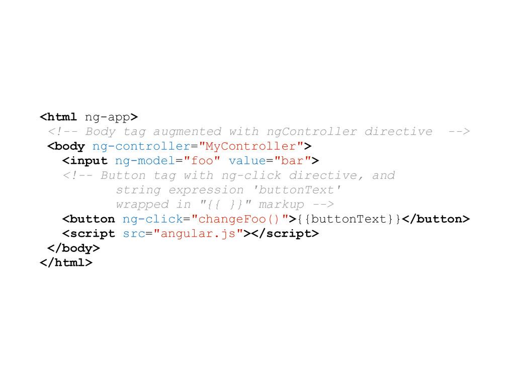 <html ng-app> <!-- Body tag augmented with ngCo...