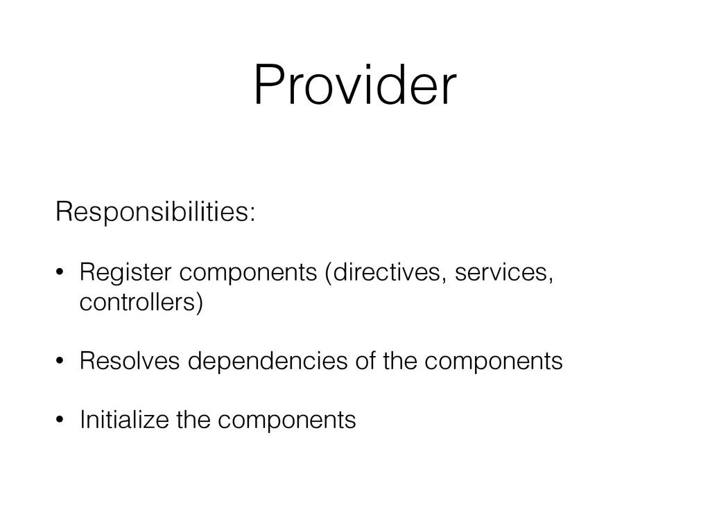 Provider Responsibilities: • Register component...