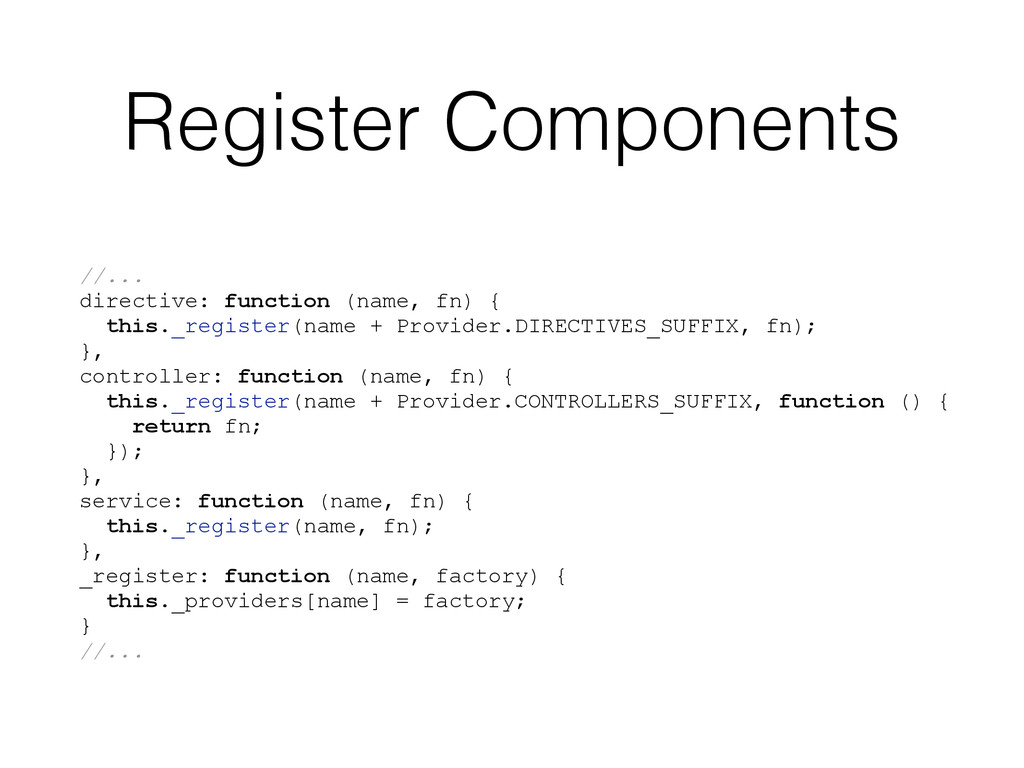 Register Components //... directive: function (...