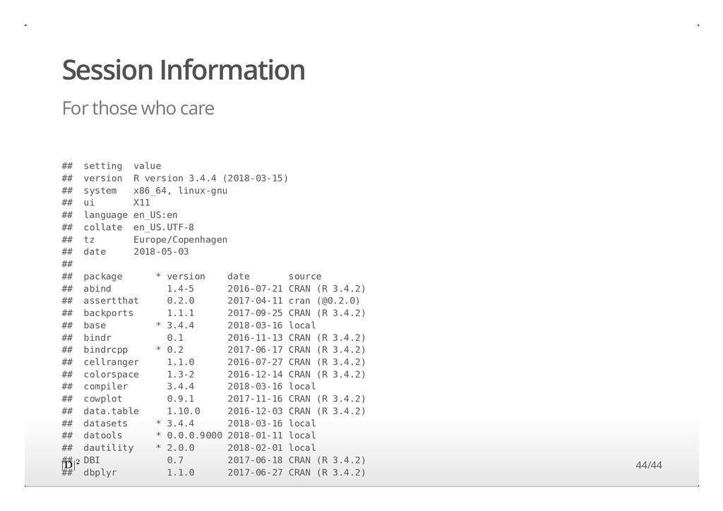 Session Information For those who care ## setti...
