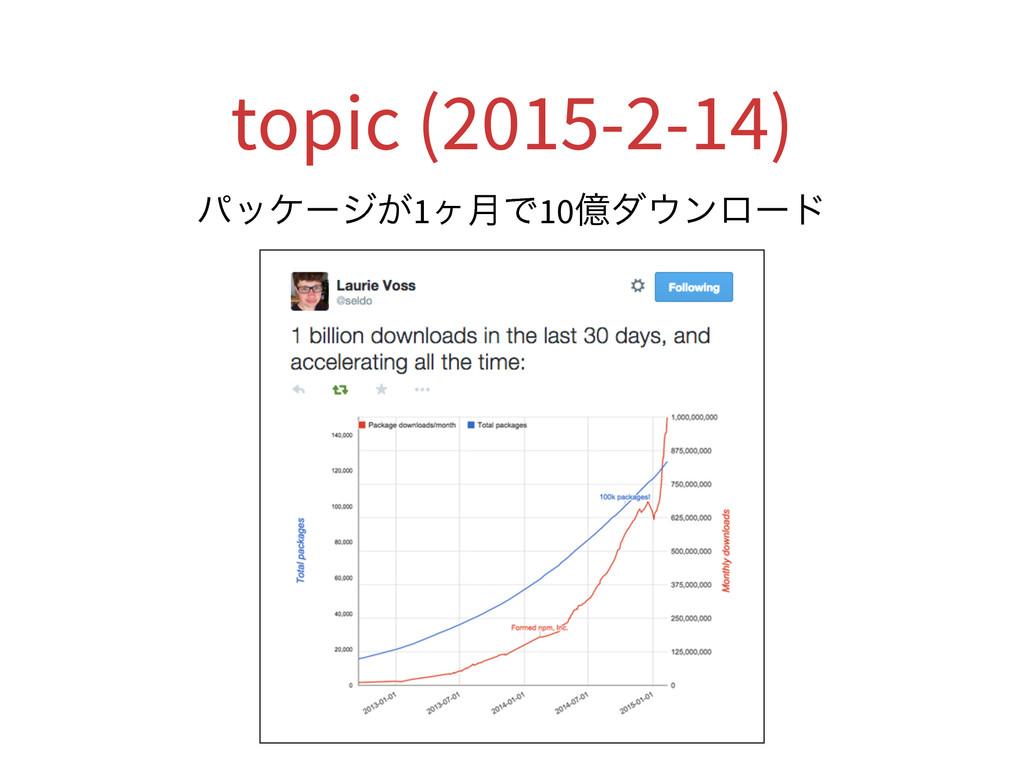 topic (2015-2-14) ύοέʔδ͕1ϲ݄Ͱ10ԯμϯϩʔυ