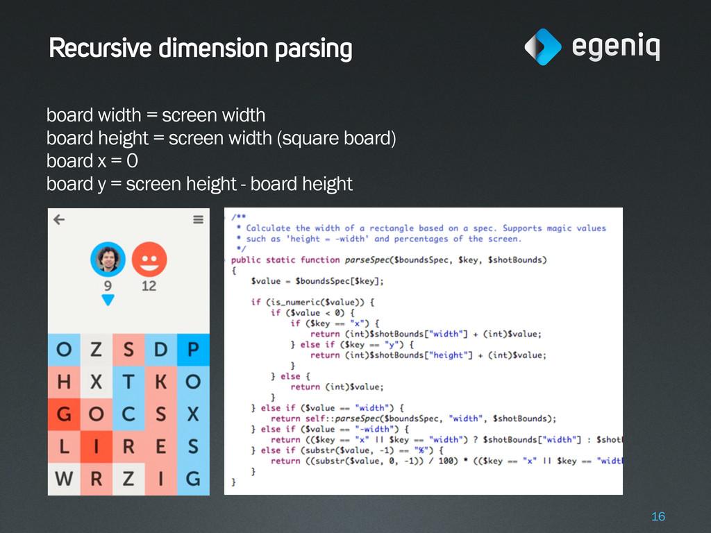 Recursive dimension parsing board width = scree...