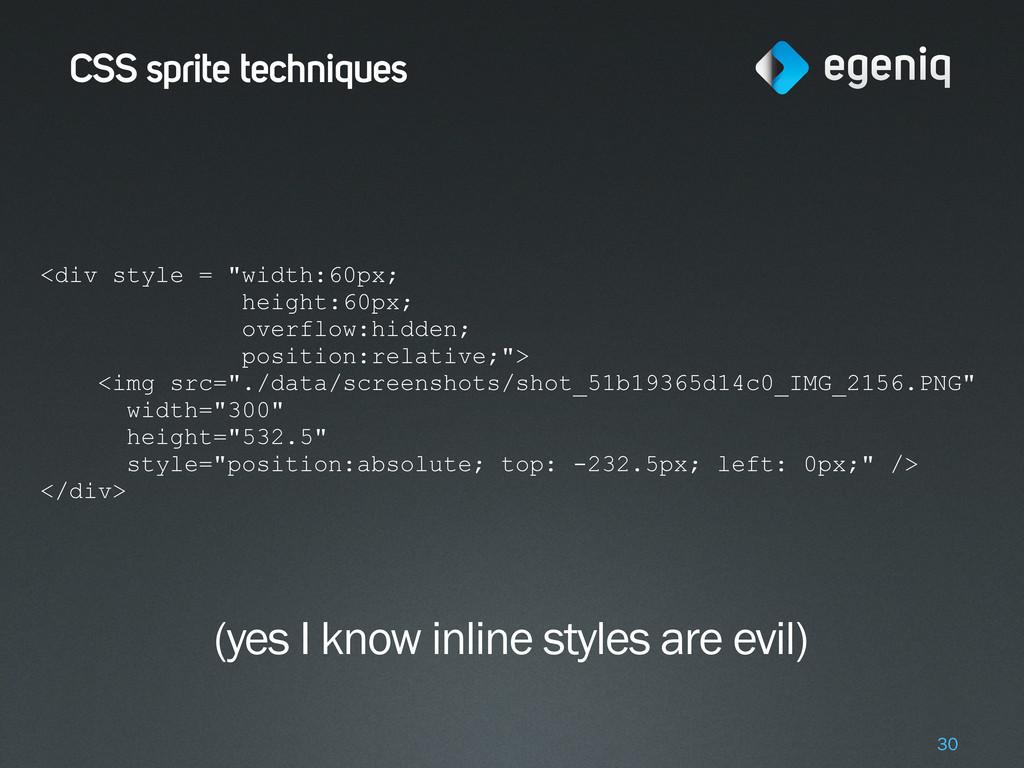 "CSS sprite techniques 30 <div style = ""width:60..."