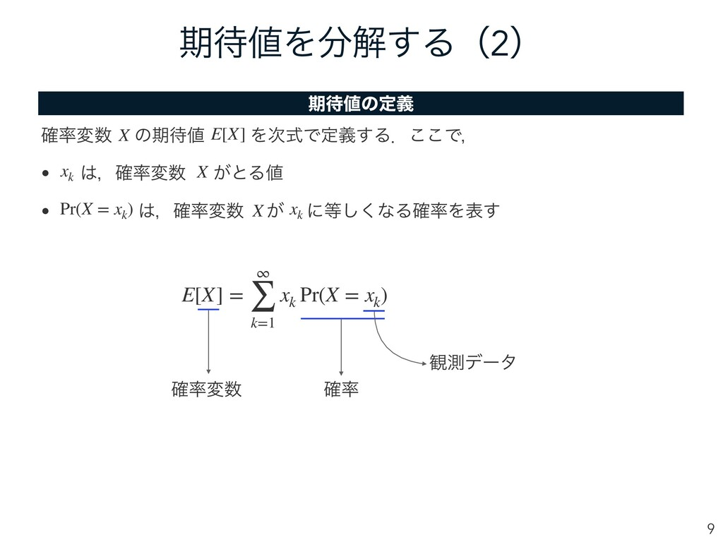 ظΛղ͢Δʢ2ʣ 9 E[X] = ∞ ∑ k=1 xk Pr(X = xk ) ظ...