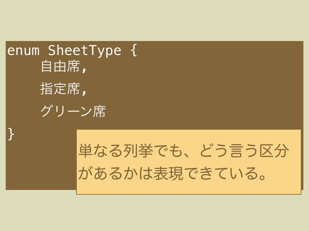 enum SheetType { ࣗ༝੮, ࢦఆ੮, άϦʔϯ੮ } ୯ͳΔྻڍͰɺͲ͏ݴ͏...