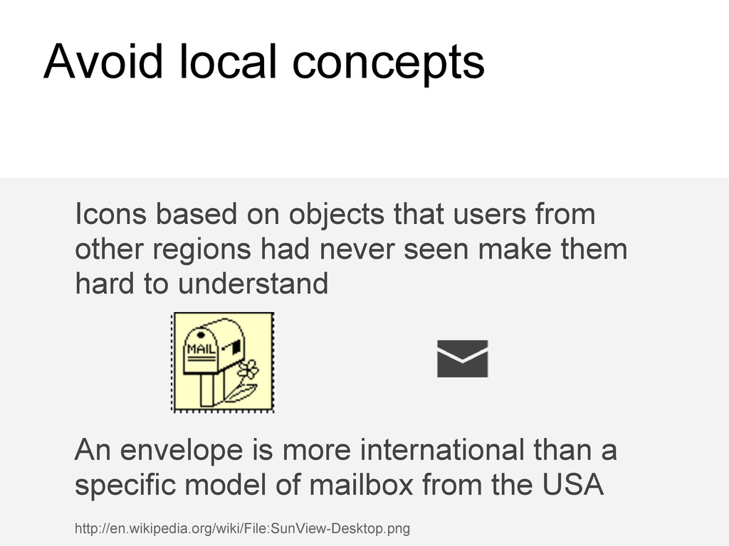 Avoid local concepts Icons based on objects tha...
