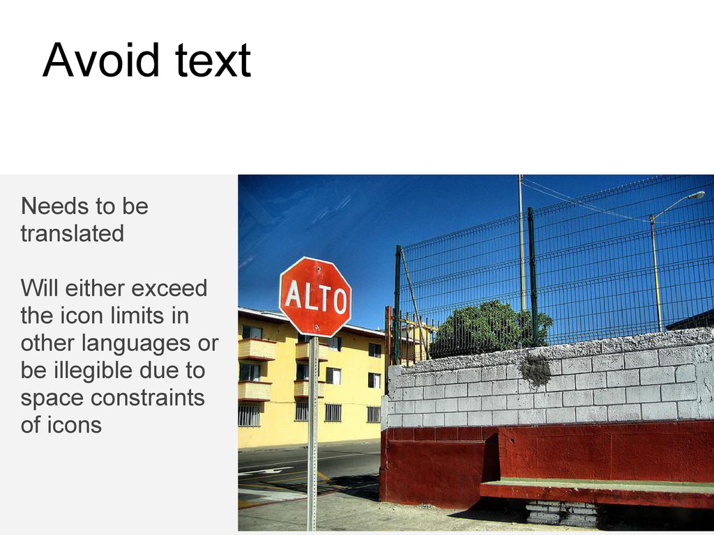 Avoid text Needs to be translated Will either e...