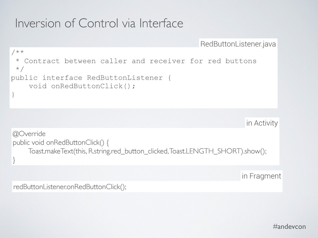 #andevcon Inversion of Control via Interface /*...