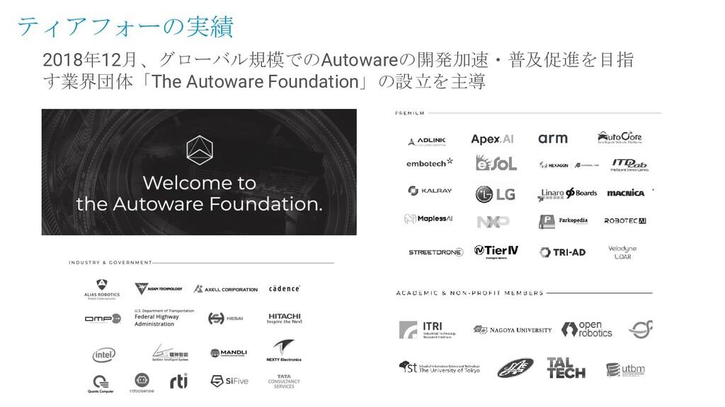 2018年12月、グローバル規模でのAutowareの開発加速・普及促進を目指 す業界団体「T...