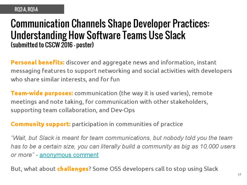 Communication Channels Shape Developer Practice...