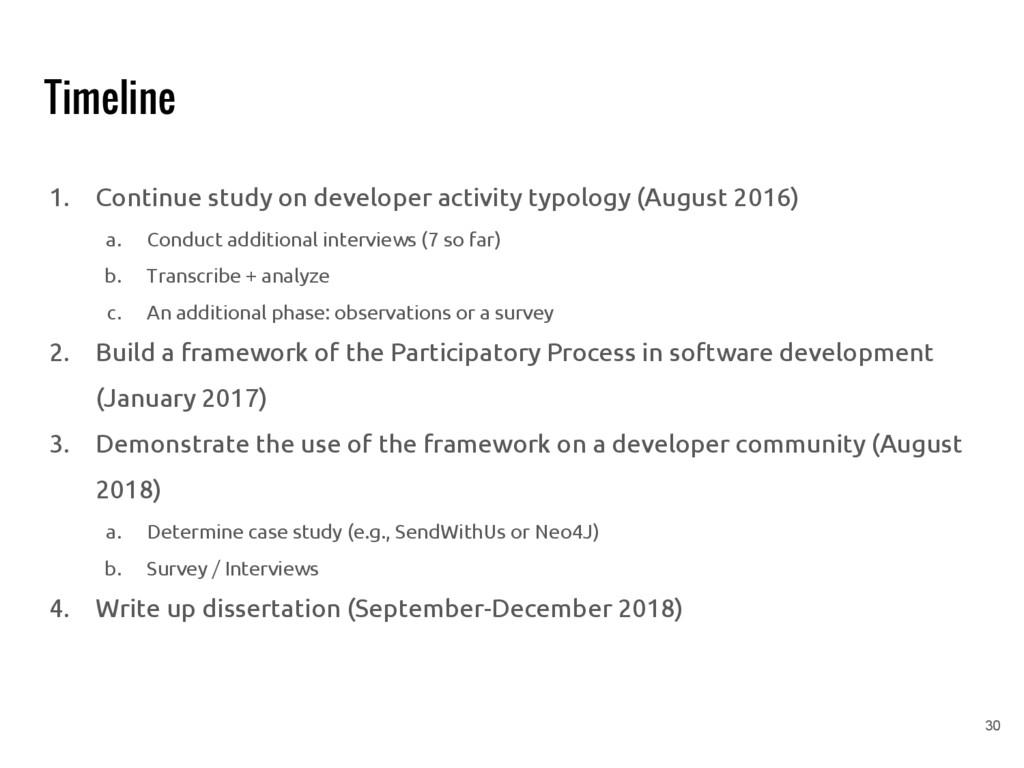 Timeline 1. Continue study on developer activit...