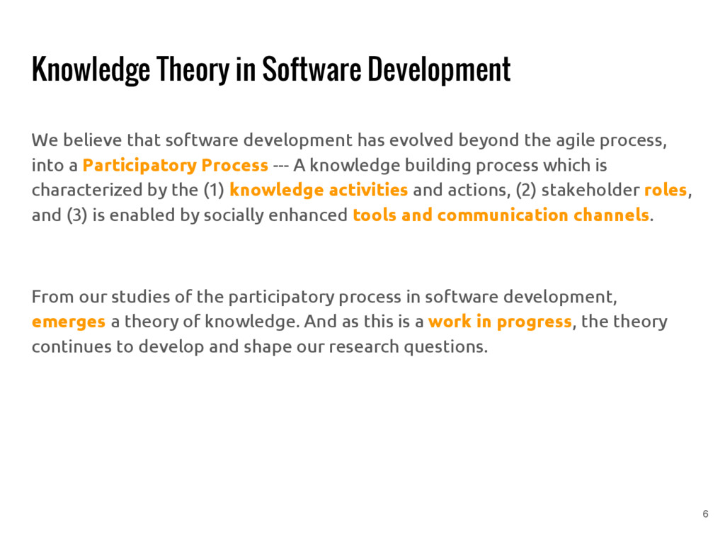 Knowledge Theory in Software Development We bel...