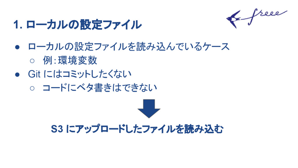 1. ローカルの設定ファイル ● ローカルの設定ファイルを読み込んでいるケース ○ 例:環境変...