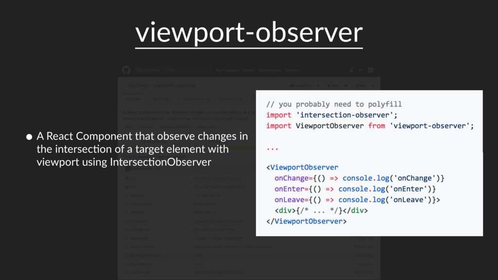 viewport-observer • A React Component that obse...