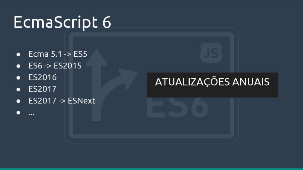EcmaScript 6 ● Ecma 5.1 -> ES5 ● ES6 -> ES2015 ...