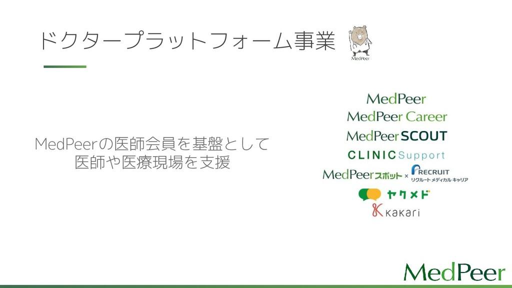 ドクタープラットフォーム事業 MedPeerの医師会員を基盤として 医師や医療現場を支援