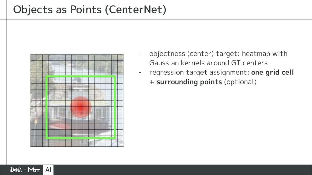 - objectness (center) target: heatmap with Gaus...
