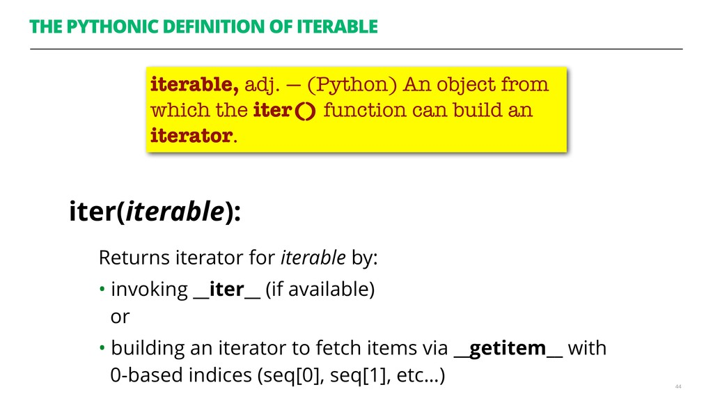 THE PYTHONIC DEFINITION OF ITERABLE Returns ite...