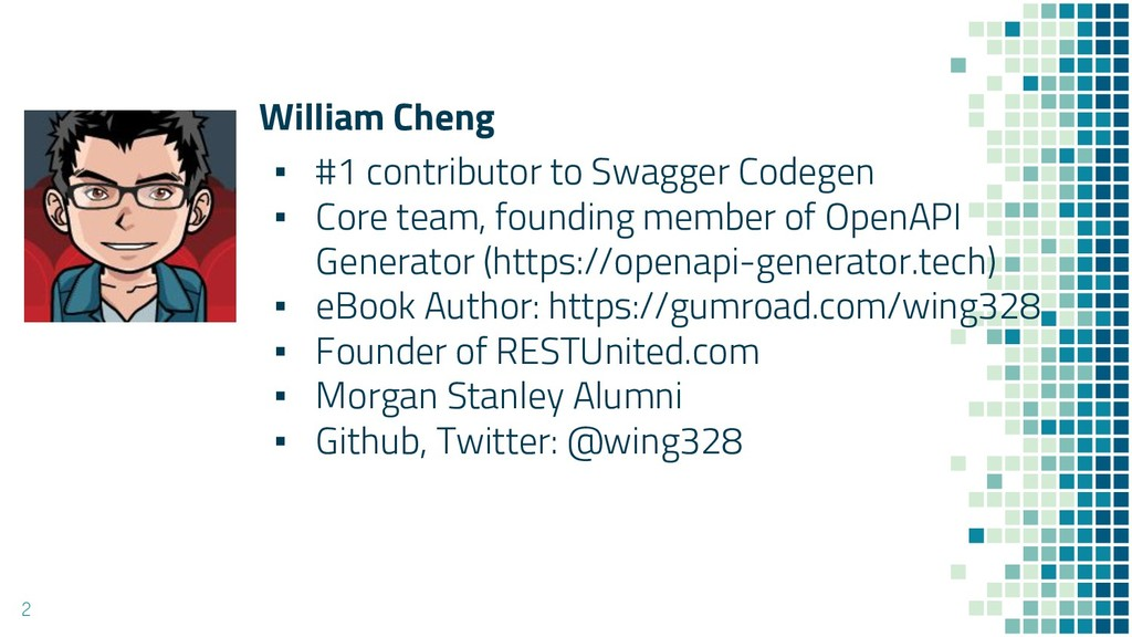 William Cheng ▪ #1 contributor to Swagger Codeg...
