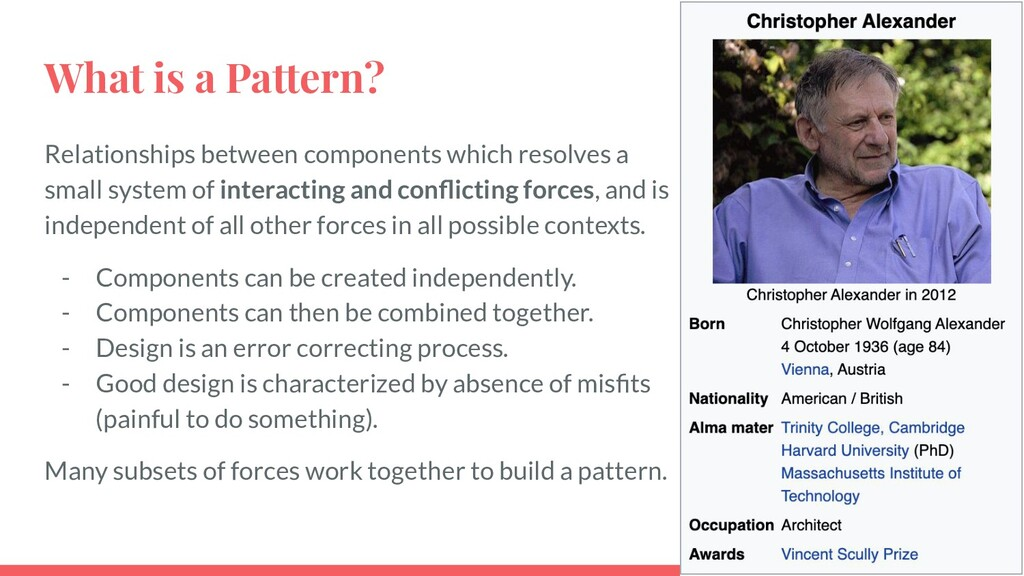 What is a Pattern? Relationships between compon...