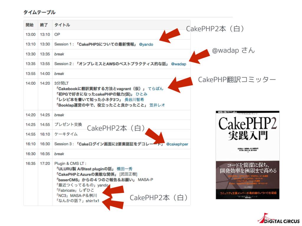 CakePHP翻訳コミッター @wadap さん CakePHP2本(白) CakePHP2本...