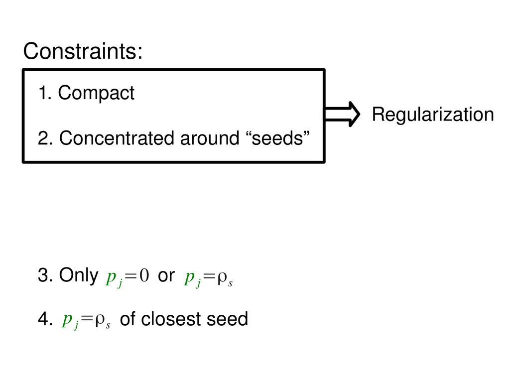 Constraints: 1. Compact 2. Concentrated around ...