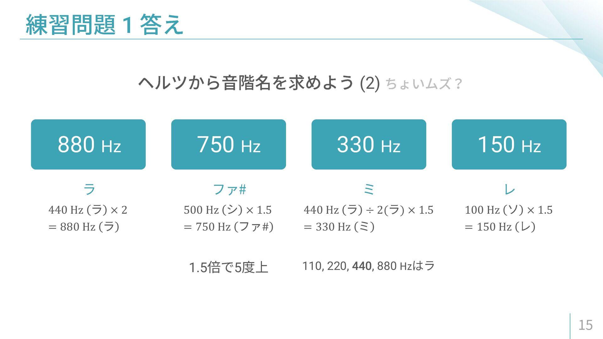440 Hz × 2 = 880 Hz 500 Hz × 1.5 = 750 Hz # 440...