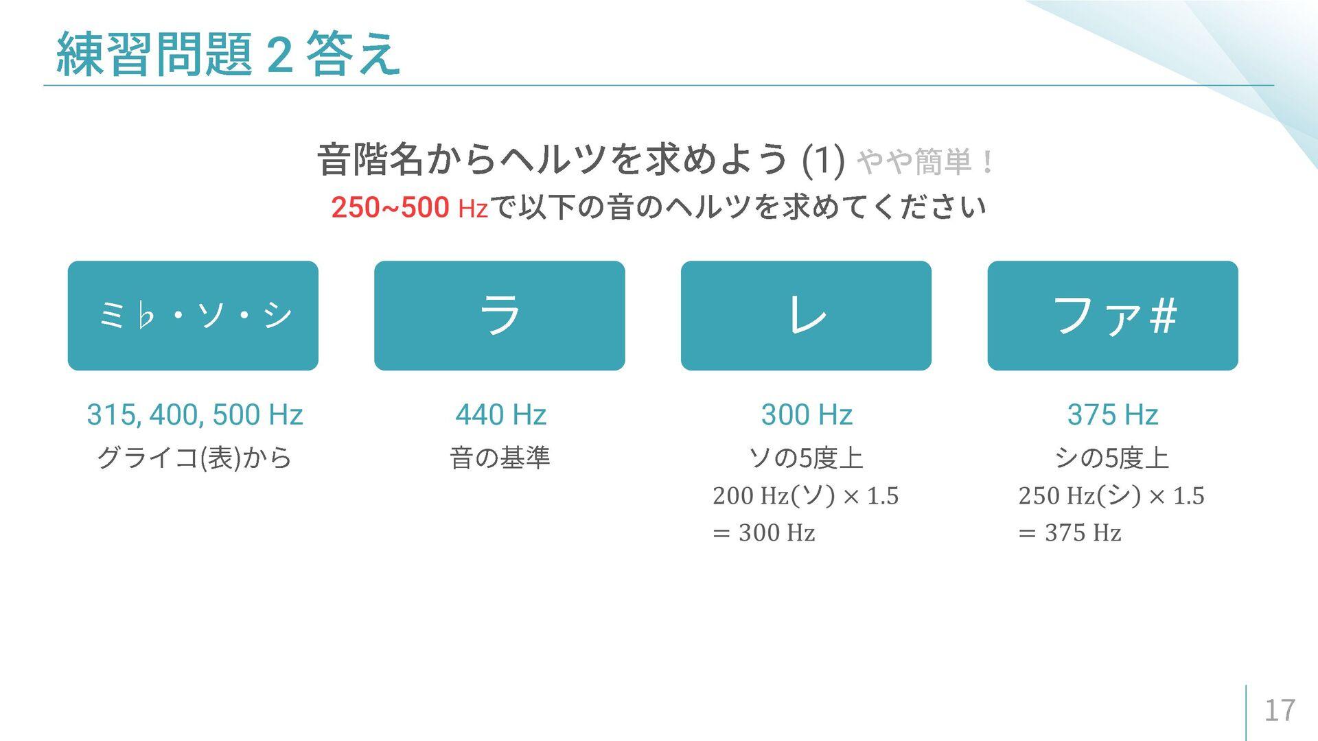 200 Hz × 1.5 = 300 Hz 250 Hz × 1.5 = 375 Hz (1)...