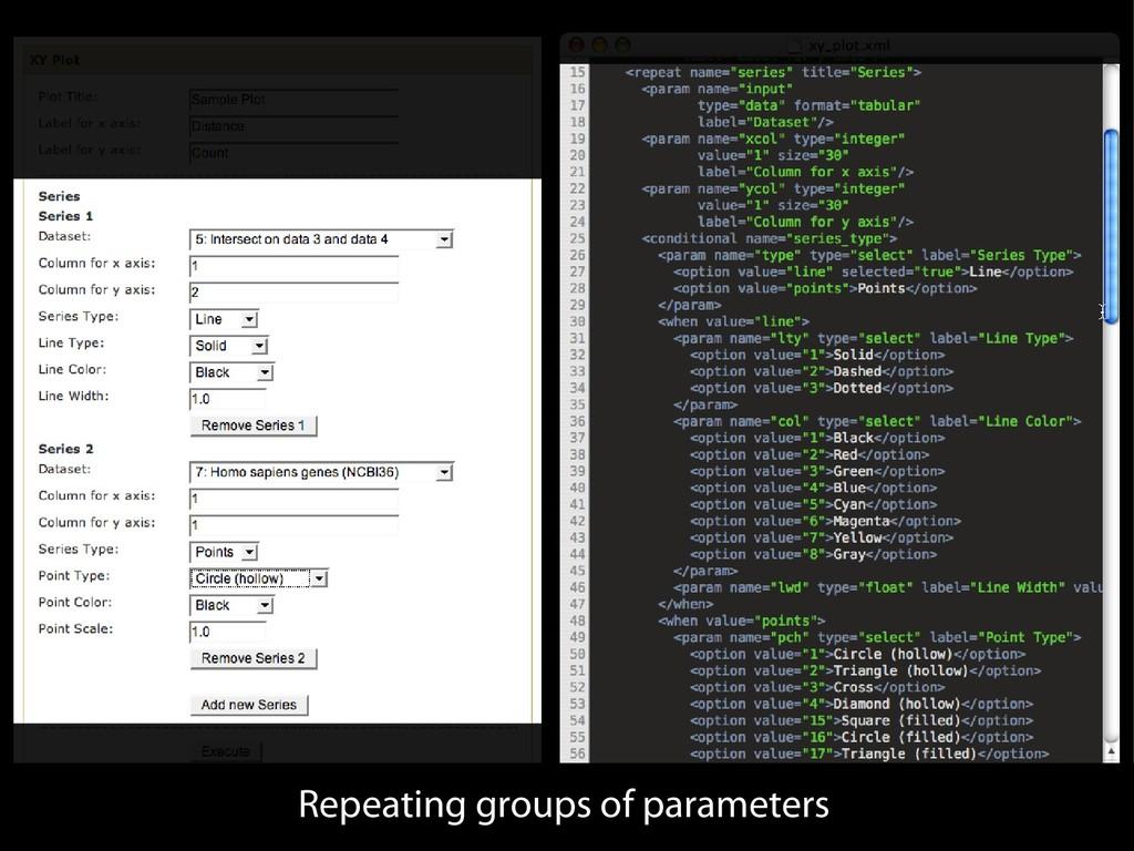 Repeating groups of parameters