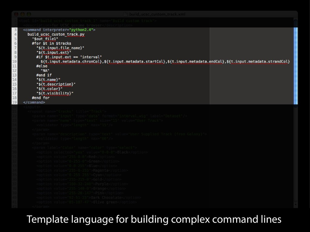 Template language for building complex command ...