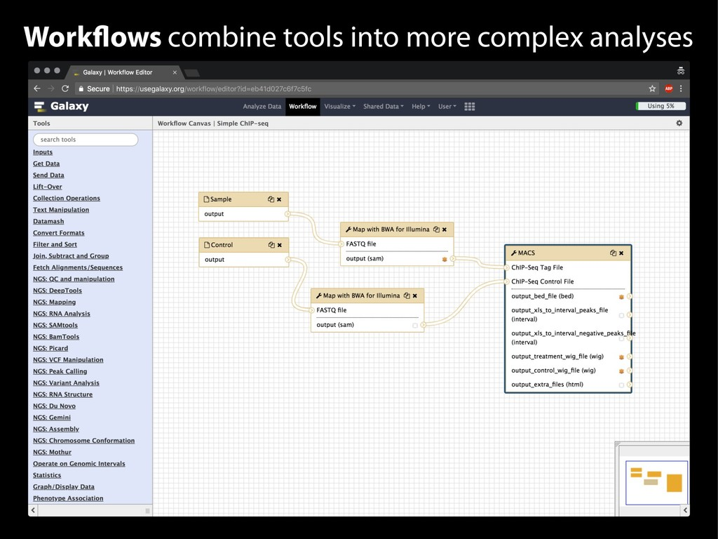 Workflows combine tools into more complex analy...