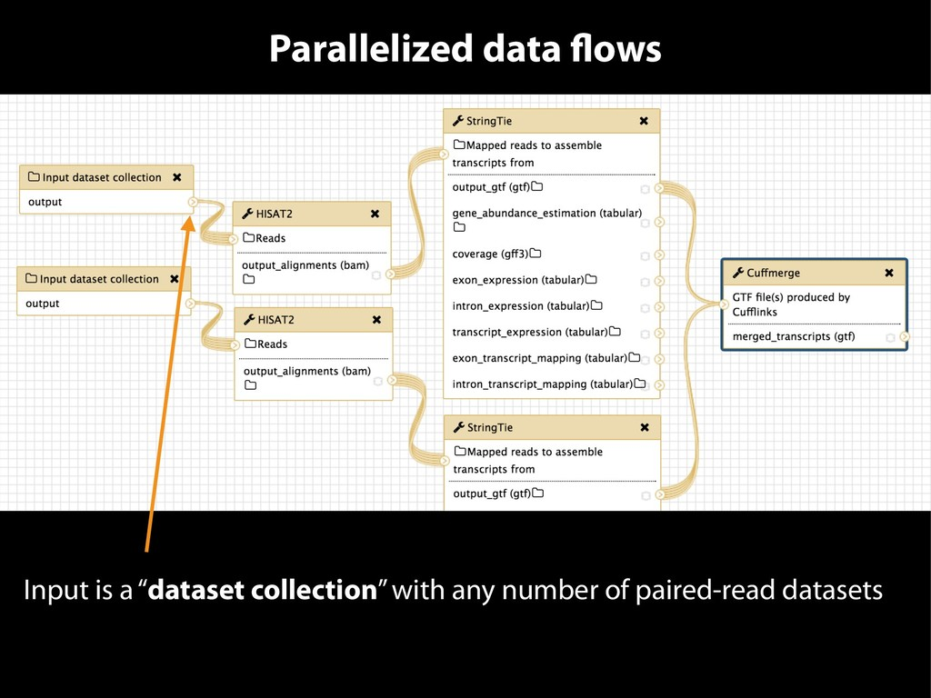 """Parallelized data flows Input is a """"dataset col..."""