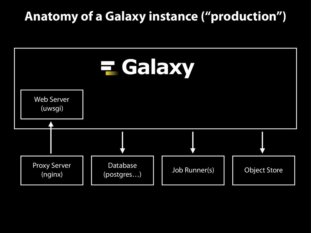 """Anatomy of a Galaxy instance (""""production"""") Web..."""