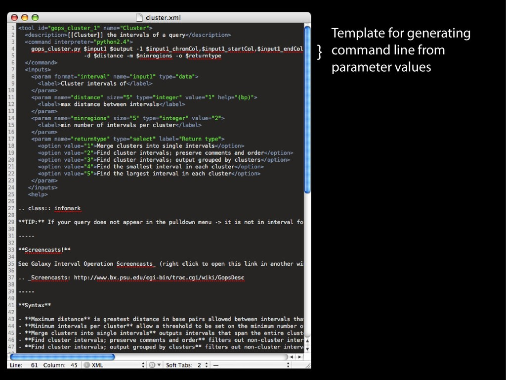 } Template for generating command line from par...