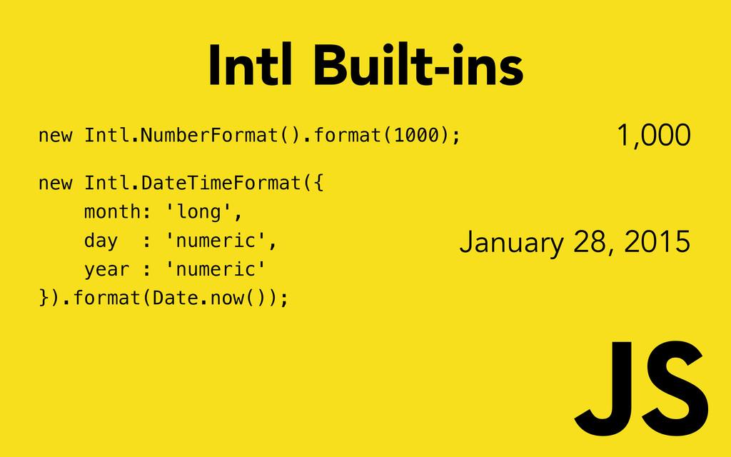 new Intl.NumberFormat().format(1000); new Intl....