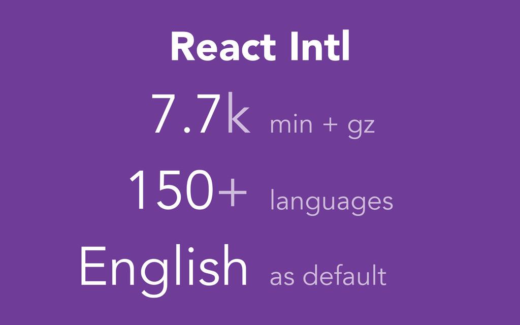 7.7k 150+ React Intl min + gz languages English...