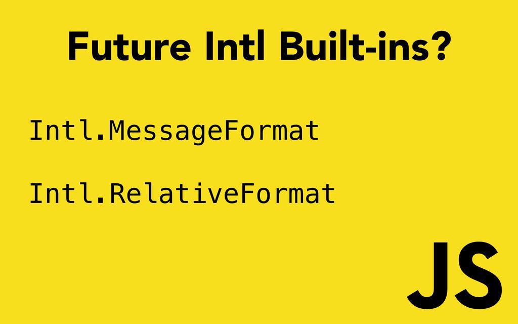 Intl.MessageFormat Intl.RelativeFormat Future I...