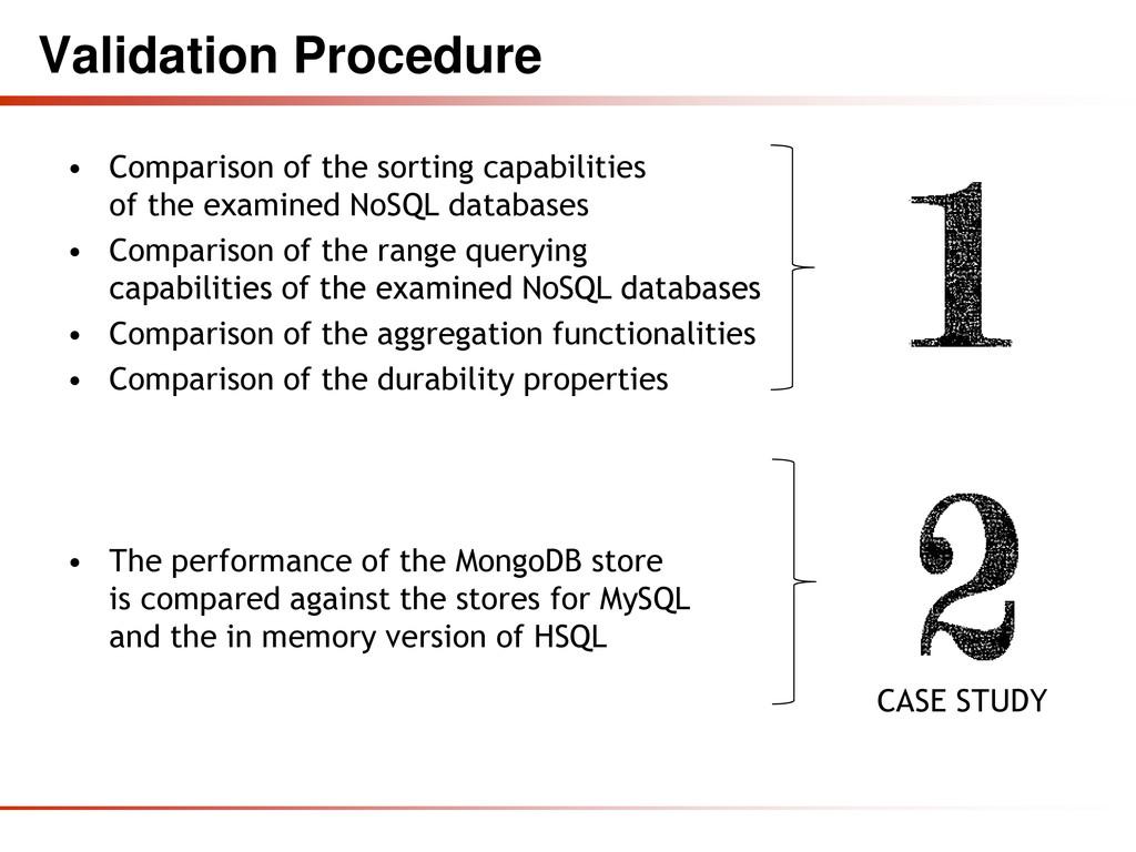 Validation Procedure • Comparison of the sortin...
