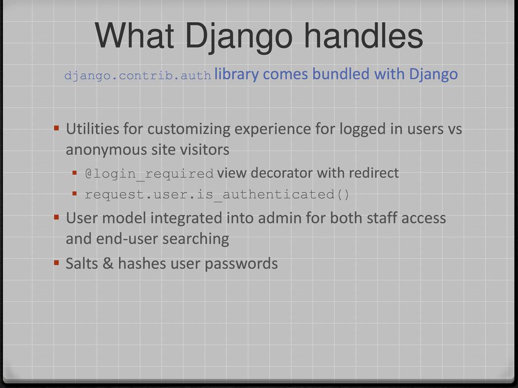 What Django handles  Utilities for customizing...