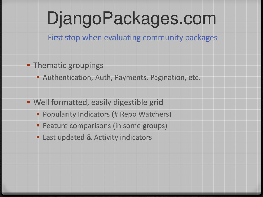 DjangoPackages.com  Thematic groupings  Authe...
