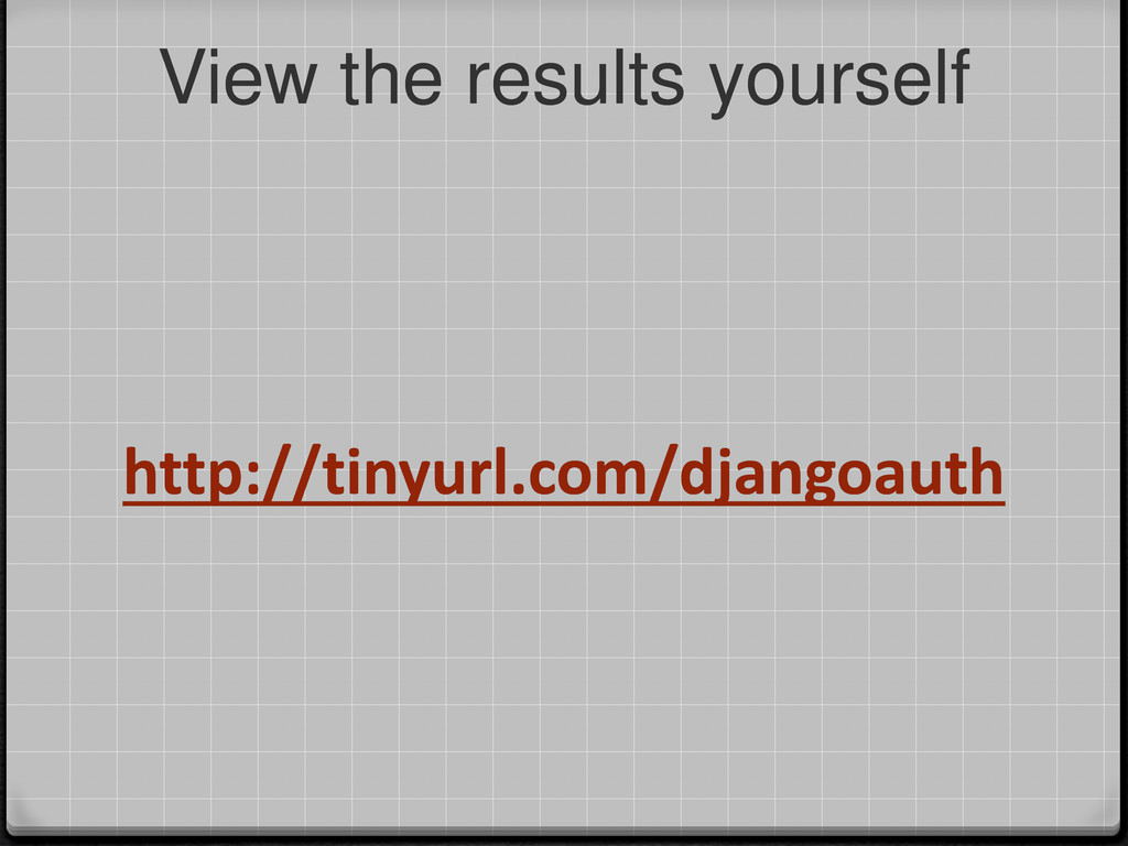 http://tinyurl.com/djangoauth View the results ...