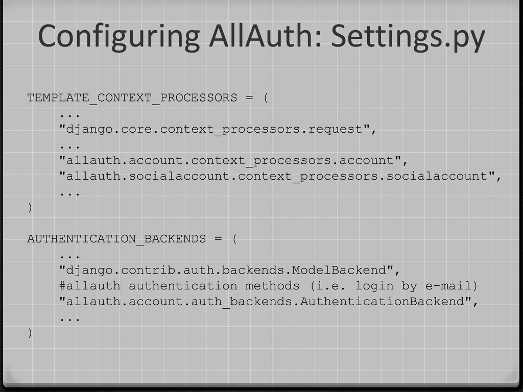 Configuring AllAuth: Settings.py TEMPLATE_CONTE...