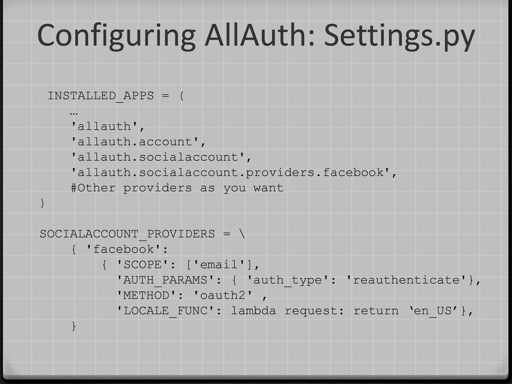 Configuring AllAuth: Settings.py INSTALLED_APPS...