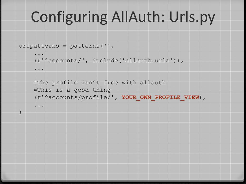 Configuring AllAuth: Urls.py urlpatterns = patt...