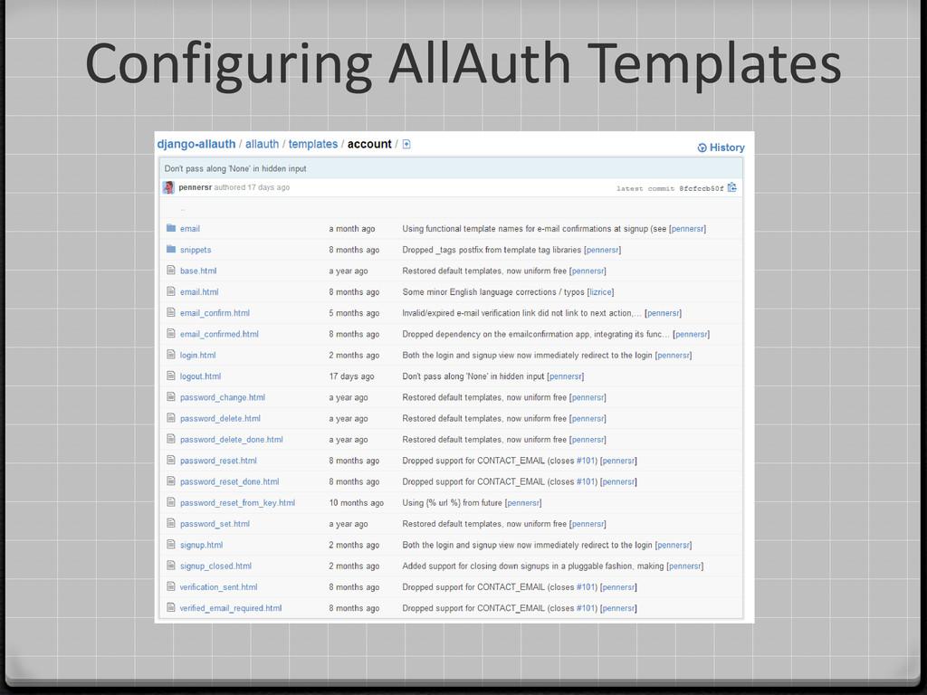 Configuring AllAuth Templates